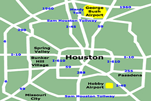 Map of Houston and major loops, such as I-610 and Beltway 8. Houston Airports like Hobby Airport and IAH, Bush Airport, are highlighted in yellow.